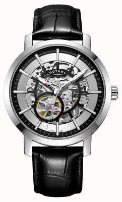 Rotary Montre squelette pour homme en cuir noir avec bracelet en cuir GS05350/02