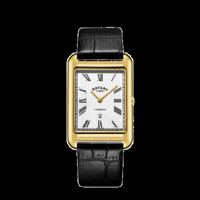 Rotary Montre homme cambridge doré et bracelet en cuir noir GS05283/01