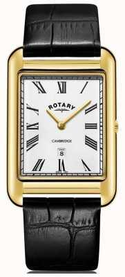 Rotary Montre carrée en or cambridge pour homme bracelet en cuir noir GS05283/01