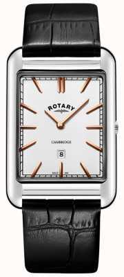 Rotary Bracelet en cuir noir et cambridge avec date GS05280/02