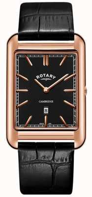 Rotary Montre cambridge en or rose pour homme avec bracelet en cuir noir GS05284/04