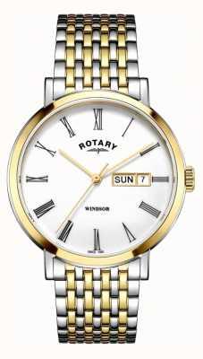 Rotary Montre windsor deux tons argent et or pour homme GB05302/01