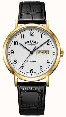 Rotary Boitier homme en cuir noir avec bracelet en cuir windsor GS05303/18