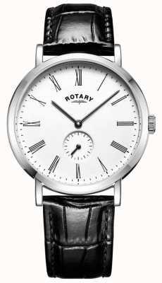Rotary Montre à bracelet en cuir avec boîtier en acier inoxydable windsor pour homme GS05310/01