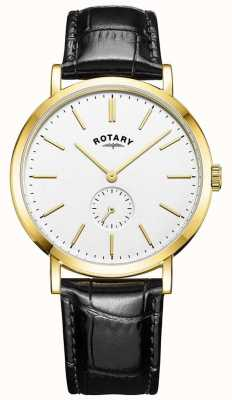 Rotary Montre à bracelet en cuir avec boîtier en or windsor GS05313/02