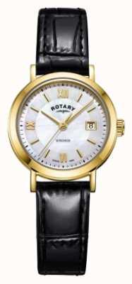 Rotary Bracelet en cuir noir avec cadran en nacre windsor pour femme LS05303/41