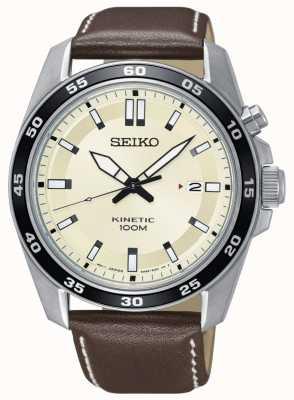 Seiko Cadran cinétique en cuir marron SKA787P1