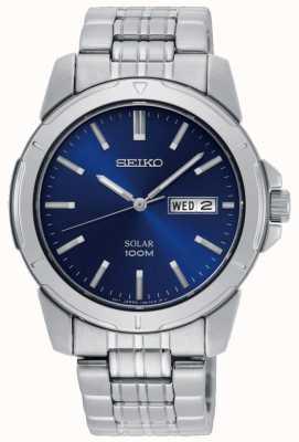 Seiko Montre solaire homme en acier inoxydable bracelet cadran bleu SNE501P1