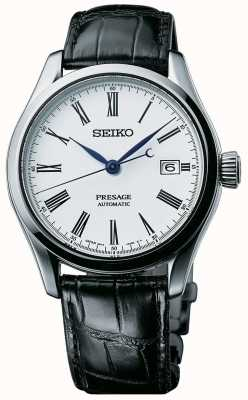 Seiko Presage Mens automatique cadran blanc bracelet en cuir noir SPB047J1