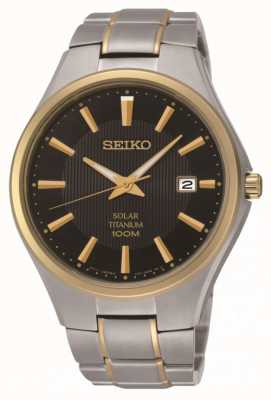 Seiko Montre bracelet solaire en titane bicolore pour homme SNE382P9