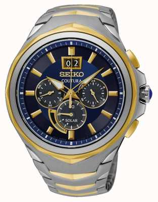 Seiko Bracelet Coutura en acier inoxydable bicolore avec cadran bleu SSC642P1