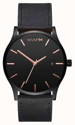 MVMT Cuir rose noir classique | bracelet noir | cadran noir D-MM01-BBRGL