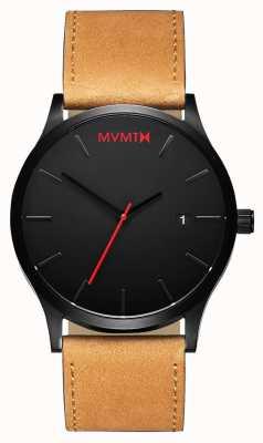 MVMT Bronzage noir classique | bracelet en cuir marron | cadran noir D-L213.5L.351