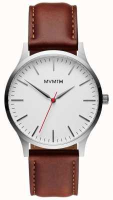 MVMT Série 40 argent naturel bronzé | bracelet marron | cadran argenté D-MT01-SNA