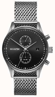MVMT Voyager sterling | maille en acier inoxydable | cadran noir D-MV01-S2