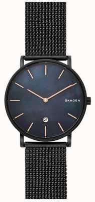 Skagen Mens hagen montre en acier noir maille bleu cadran SKW6472