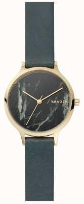 Skagen Womens anita montre en marbre gris et bracelet en cuir SKW2720