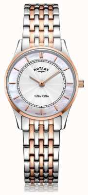 Rotary Bracelet bicolore ultra-mince pour femme avec cadran en nacre LB08302/02