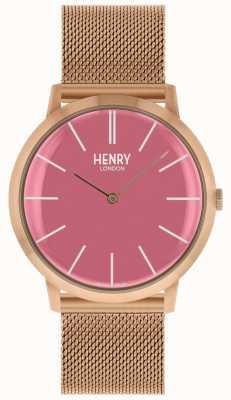 Henry London Bracelet en maille or rose avec cadran rose emblématique HL40-M-0312
