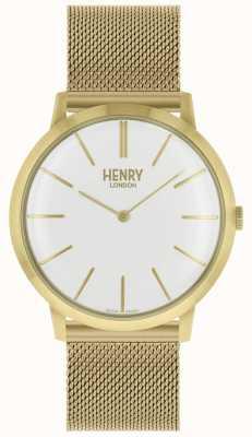Henry London Bracelet iconique en maille ton sur ton cadran blanc HL40-M-0250