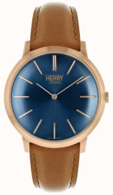Henry London Cadran iconique bleu marine bracelet en cuir marron rose HL40-S-0244