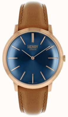 Henry London Étui bicolore avec cadran bleu marine et bracelet en cuir beige HL40-S-0244