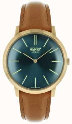 Henry London Étui iconique avec bracelet en cuir brun clair et cadran bleu marine HL40-S-0274