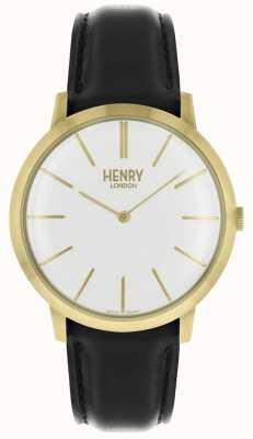 Henry London Iconic cadran blanc, bracelet en cuir noir, ton doré HL40-S-0238