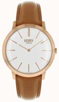 Henry London Cadran blanc iconique bracelet en cuir marron rose HL40-S-0240