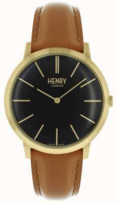 Henry London Étui emblématique avec bracelet en cuir brun clair et cadran noir HL40-S-0242