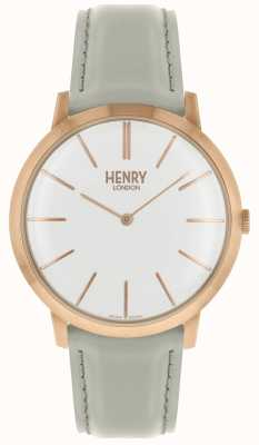 Henry London Cadran blanc iconique bracelet en cuir gris rose HL40-S-0290