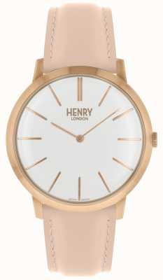 Henry London Etui rose emblématique avec bracelet en cuir rose et cadran blanc HL40-S-0288