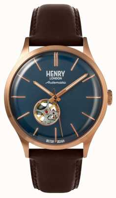 Henry London Montre bracelet cuir marron automatique pour homme HL42-AS-0278