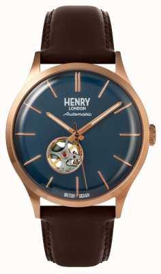 Henry London Montre Heritage pour homme avec cadran bleu marine et bracelet en cuir marron automatique HL42-AS-0278