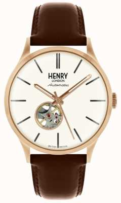 Henry London Montre automatique en cuir marron avec cadran blanc HL42-AS-0276