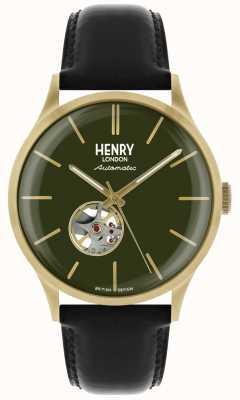 Henry London Montre homme automatique en cuir noir avec cadran vert HL42-AS-0282