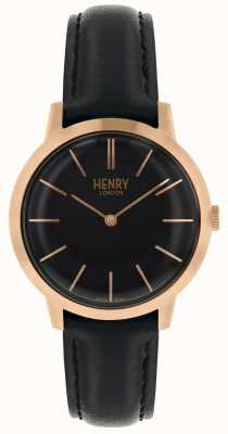 Henry London Montre femme emblématique cadran noir bracelet en cuir noir HL34-S-0218