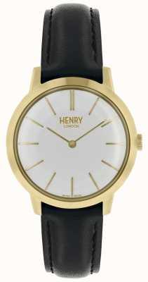 Henry London Montre femme emblématique cadran blanc bracelet en cuir noir HL34-S-0214
