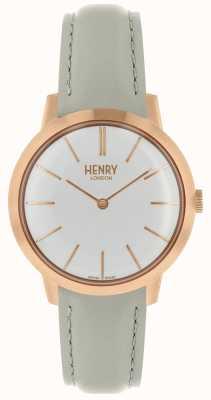 Henry London Montre femme emblématique cadran blanc bracelet en cuir gris HL34-S-0220