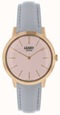 Henry London Montre femme emblématique cadran rose bracelet en cuir gris HL34-S-0228