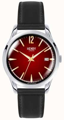 Henry London Montre en cuir noir unisexe Chancery Montre cadran rouge HL39-S-0095