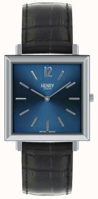 Henry London Heritage montre carrée pour hommes cadran bleu bracelet en cuir noir HL34-QS-0267
