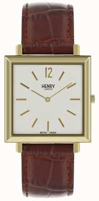 Henry London Heritage mens square watch cadran blanc bracelet en cuir marron HL34-QS-0268