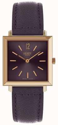 Henry London Héritage féminin petite montre carrée violet HL26-QS-0260