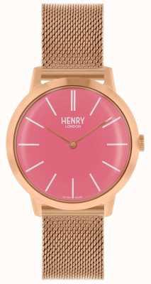 Henry London Montre femme emblématique Bracelet en maille or rose Cadran rose HL34-M-0272