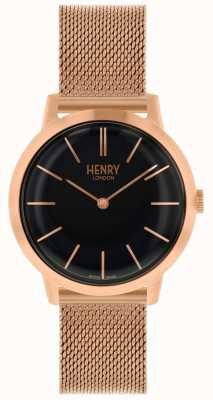 Henry London Montre femme emblématique bracelet en or rose cadran noir HL34-M-0234