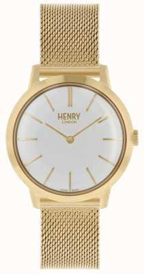 Henry London Cadran en or blanc avec bracelet en maille HL34-M-0232