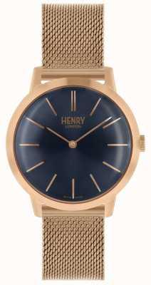 Henry London Montre femme emblématique bracelet en or rose cadran bleu HL34-M-0292