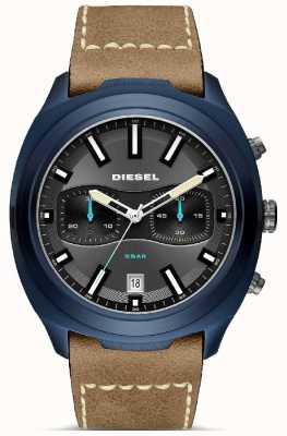 Diesel Montre à bracelet en cuir marron bleu pour homme DZ4490