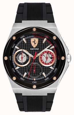 Scuderia Ferrari Bracelet homme en caoutchouc noir avec accents dorés et affichage de la date 0830556